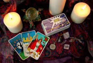 Tarot cards and candles