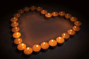 love symbol made from candles